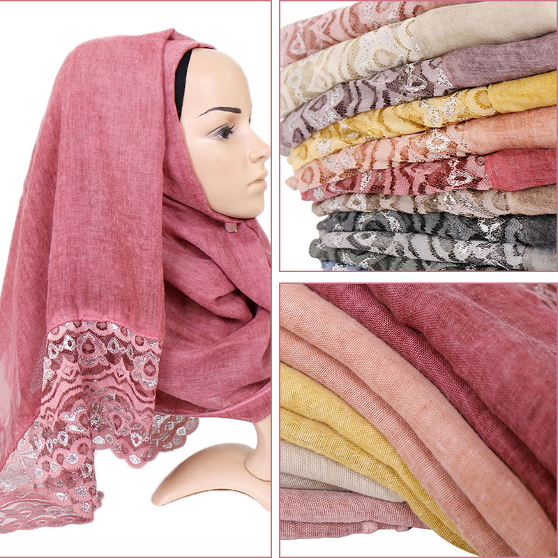 Cotton lace hijab scarf plain maxi wraps bandhnu shawls muslim scarves fashion long headband wraps islamic