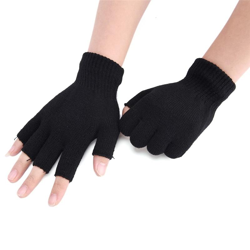 New Black Short Half Finger Fingerless Wool Knit Wrist