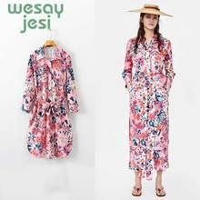 2019 Women autumn vintage floral Mid-calf dress sashes long sleeve female casual chic dresses vestidos