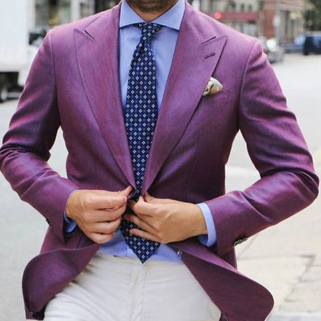 2017 new Style Purple Men Suit Blazer White Pants Custom Cool ...