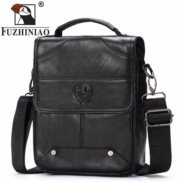 086423692d7 2018 FUZHINIAO Men s Genuine Leather Bag Messenger Brand Business Handbags  Casual Travel Shoulder Men Crossbody Bags Male Bolsa