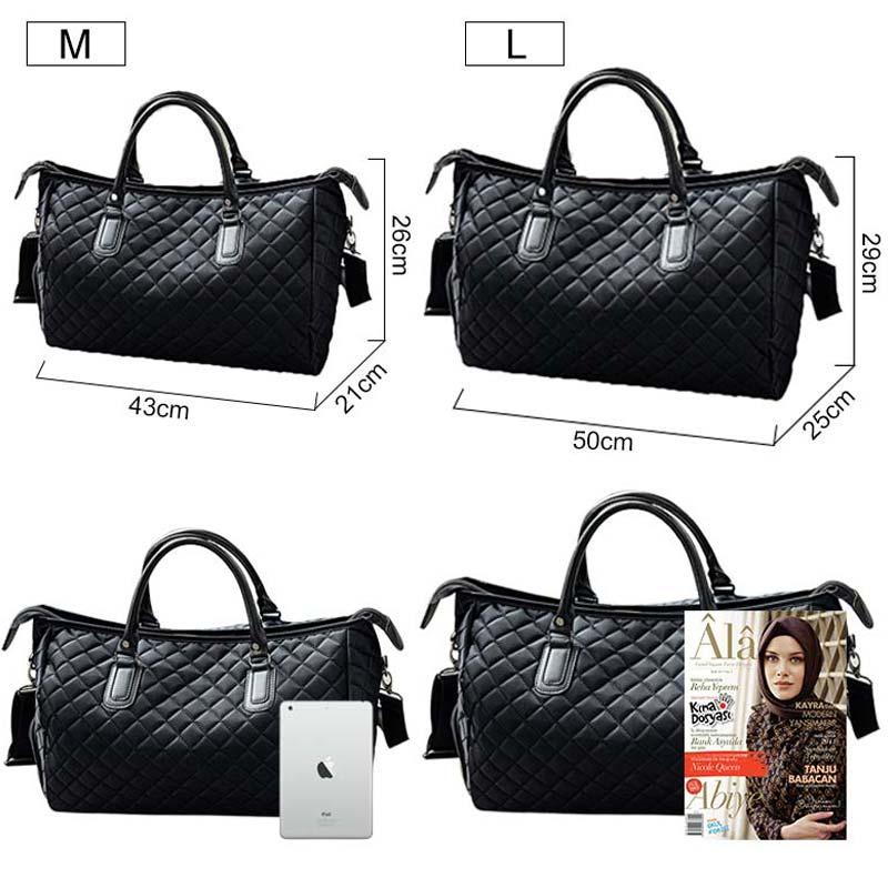 Diamond Lattice Gym Shoe Bags Sport Bag for Women Fitness Over the Shoulder Travel Luggage Bag Handbags Male Nylon Black XA745WD