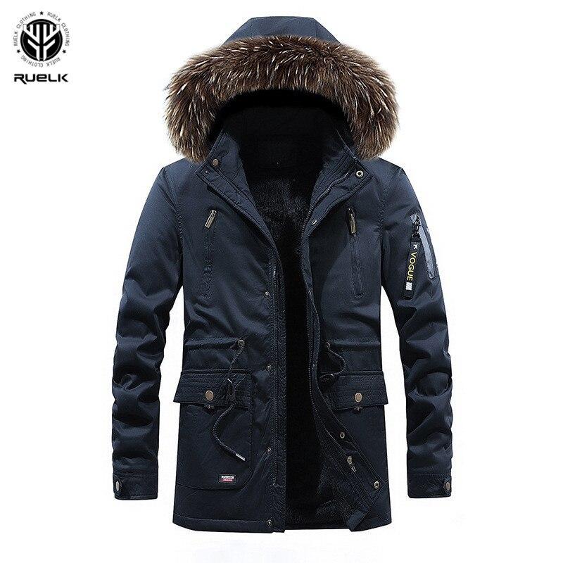 RUELK зимние мужские пальто мужские длинные парки Популярные с капюшоном теплое пальто плюс бархат съемный с капюшоном мыть хлопок низкая цен...