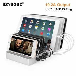Image 1 - 8 Ports chargeur de bureau USB 96W multifonction USB Station de recharge Dock avec support ue US AU royaume uni prise pour téléphone portable tablette PC