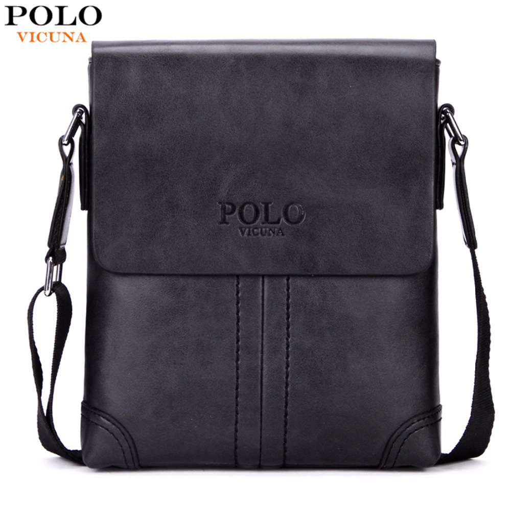 VICUNA POLO Unique Thread Design Mens Frosted PU Leather Messenger Bag Small Leisure Mens Bag Promotional Men Shoulder Bag New vicuna polo new arrival brand business men s shoulder bag square design casual men bag promotion leisure messenger bag top sell