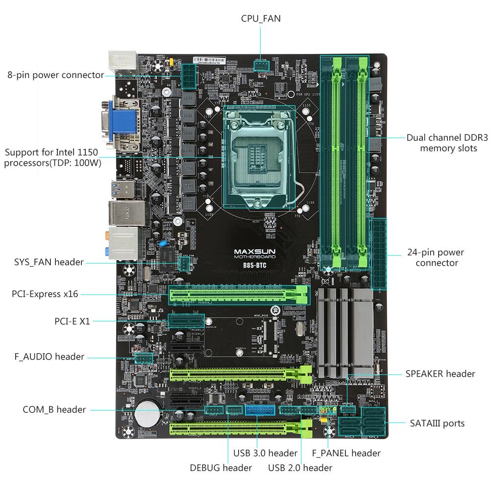 small resolution of maxsun ms b85 btc motherboard systemboard para intel b85 lga1150 procesador socket ddr3 atx mainboard para miner a minero escritorio en placas base de