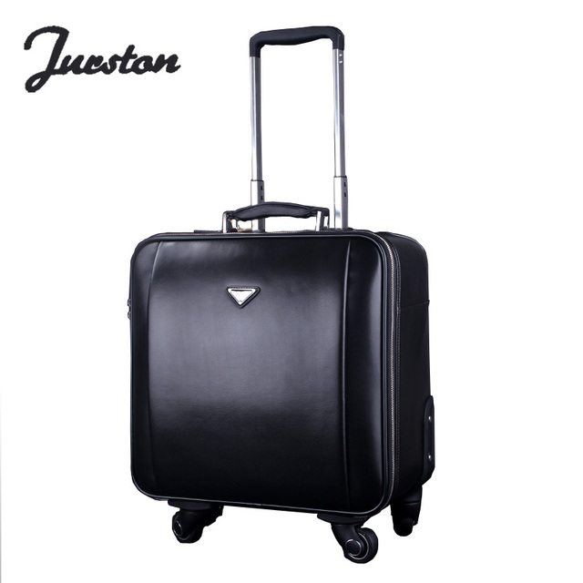 Wire genuine leather trolley luggage travel bag luggage 16 20