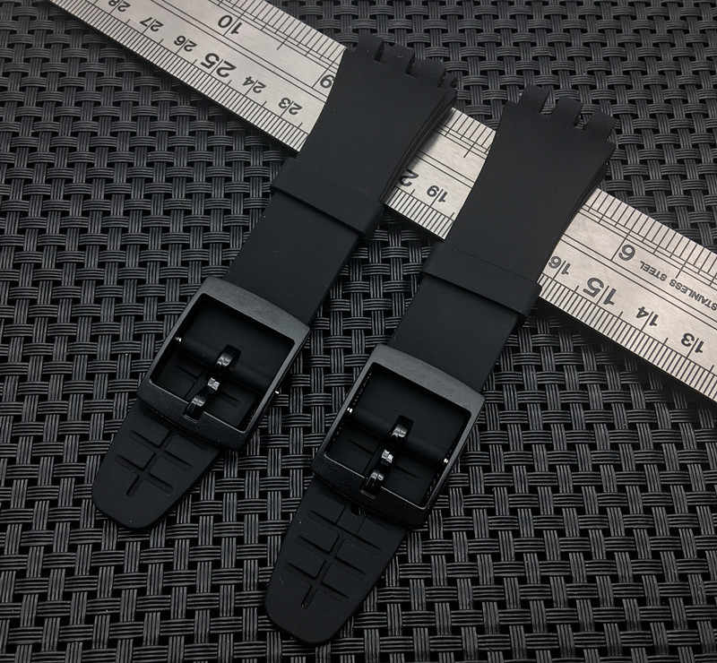 New top quality silicone watchband For swatch for SUSB400 SUSB401 watch band  Black Strap 20mm Buckle Rubber Strap Accessories