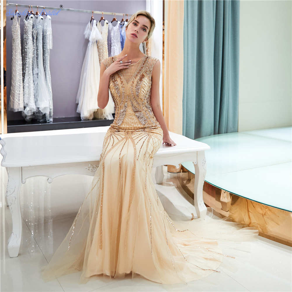 Sapphire Bridal 2019 New Womens Long Formal Gowns Sparkly Mermaid Gold Huge beaded Cap Sleeve Sexy Long   Evening     Dresses   Hot Sale