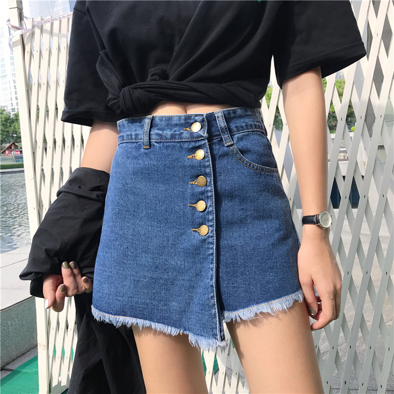 Irregular Patchwork Sexy women's Denim   Shorts   Skirts Single Breasted Wide Leg White Hot   Shorts   Denim   Short   Feminino Jeans Skirt