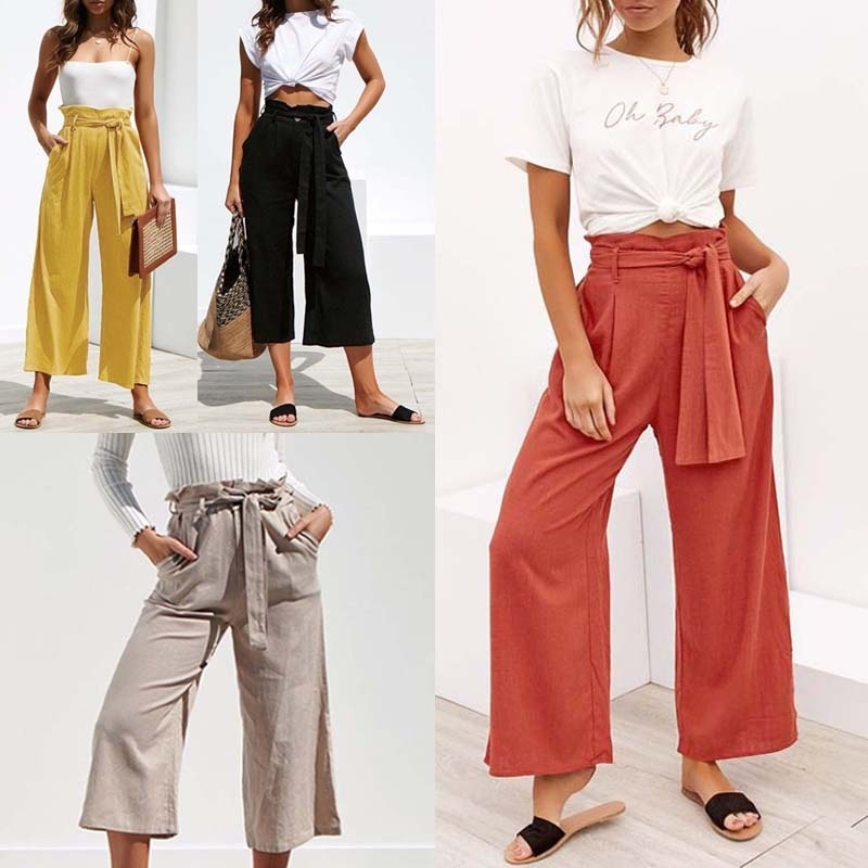 ZOGAA Women   Wide  -  leg   Trousers Ladies Casual Bandage High Waist   Pants   Female Loose Vintage Solid   Wide     Leg     Pants   2019 HOT SALE