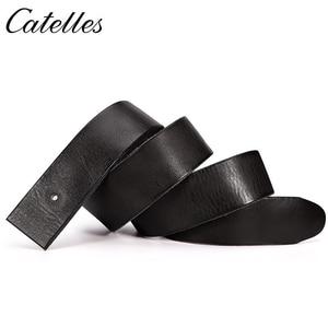 Image 4 - Catelles なしバックル本革ベルトメンズなしピンバックルストラップ男性ジーンズデザイナーベルト男性ベルト高品質