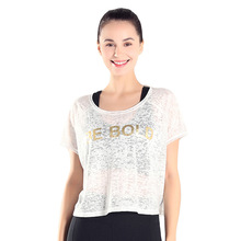 Fitness Short-sleeved Yoga Clothing Blouse T-shirt Outdoor Sports Loose Stretch Blouse Quick Dry Gym Running Fitness Tops Women