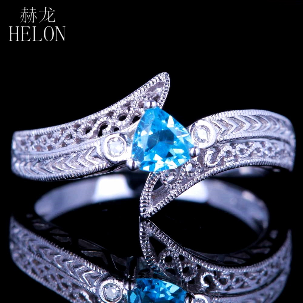 HELON Vintage Art Deco Trillion Cut 4.5X4.5mm Blue Topaz Natural Diamonds Engagement Wedding Gemstone Ring Solid 14K White GoldHELON Vintage Art Deco Trillion Cut 4.5X4.5mm Blue Topaz Natural Diamonds Engagement Wedding Gemstone Ring Solid 14K White Gold