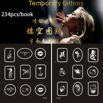 234 Designs Temporary Airbrush Tattoo Stencil Book Temporary Glitter Airbrush Henna Tattoo Templates Stencil For Set Painting