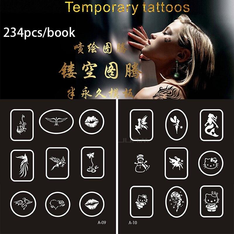 234 dessins temporaire aérographe tatouage pochoir livre temporaire paillettes aérographe henné modèles de tatouage pochoir pour Set peinture