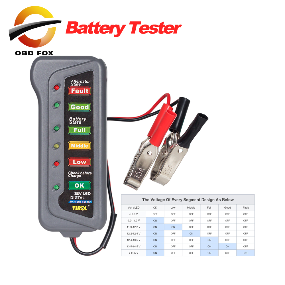 Electronic Tester Showing Failure Lights : V auto car digital battery alternator tester led