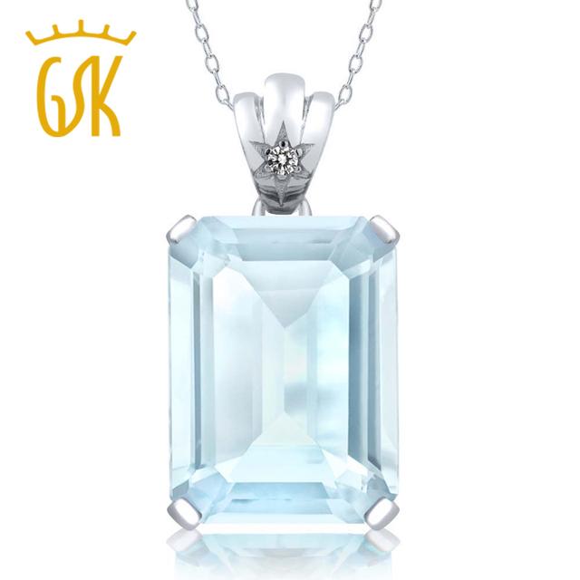 Gemstoneking 15.03 ct emerald cut sky natural topázio azul e branco pingente de diamante 925 prata esterlina jóias finas para mulheres