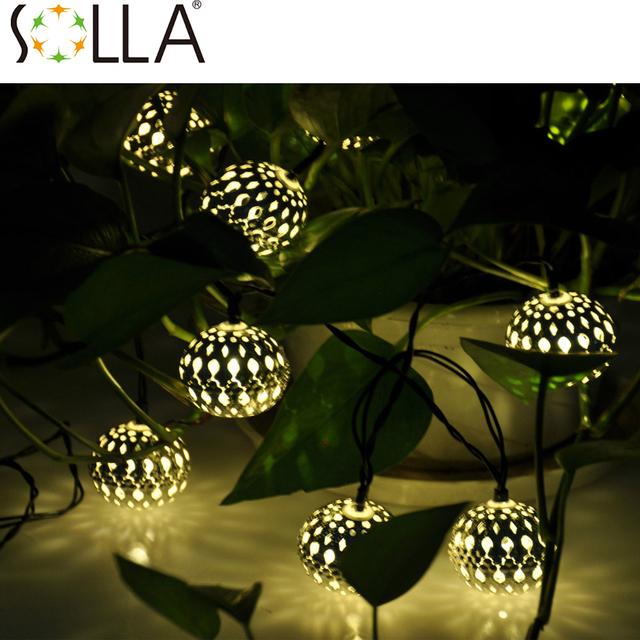2016 10LED Marroquí Lámparas Solares Cadena blanco Cálido LED Luces de Hadas de la Fiesta de Jardín Decoración De Navidad Lámpara de La Bola