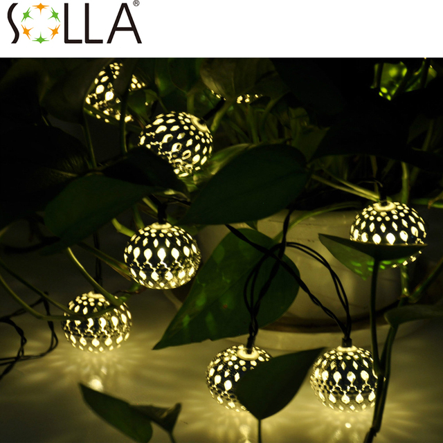 2016  10LED Moroccan Solar String Lanterns Warm white LED Fairy Lights Garden Party Christmas Decoration Ball Lamp