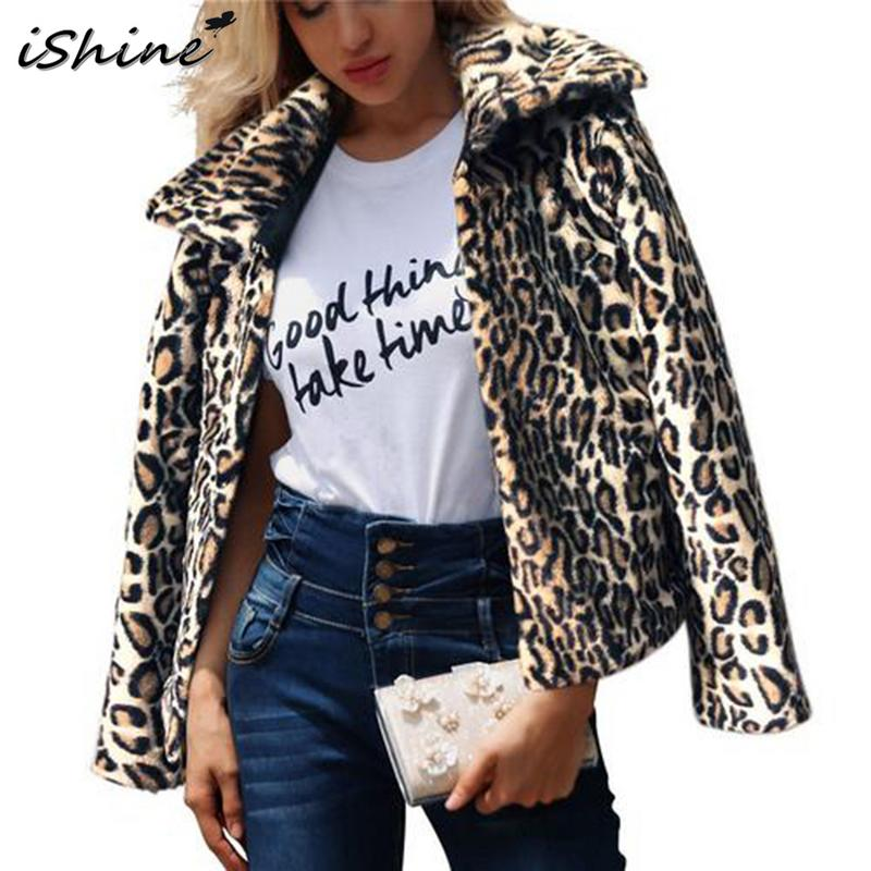iSHINE Winter Women Fashionable Leopard Print Faux Fur Overcoat Jacket Long-Sleeved Lapel Short Coat Jacket Keep Warm Thick Top