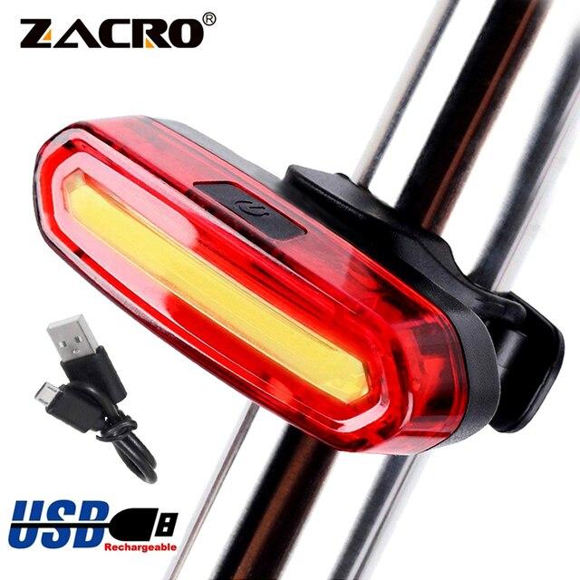 Zacro luz traseira da bicicleta cob luz led recarregável usb segurança lanterna traseira ciclismo mtb à prova dwaterproof água luz traseira lâmpada 1