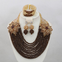 Gorgeous Chocolate Brown Crystal Nigerian Wedding Gold Champagne African Women Anniversary Beads Jewelry Set Free Shipping QW584