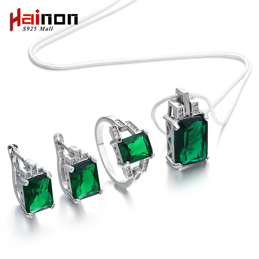 Hainon Stylish Jewelry Set for Women Engagement Green Zircon Silver Color Earring Rings The Best Choice for Wedding Party Gift