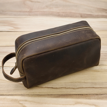 MAHEU Large Capacity Hand Bag Day Clutch Genuine Leather Storage Bags With Belt Handle Zip Big Hand Wallet Clutches Brown