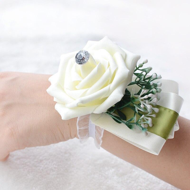 Satin Bride Bridesmiad Hand Wrist Flower Corsage Wedding Wedding Bracelet Flower Bracelet For Bridesmaids