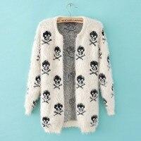 2018 Autumn And Winter Female Sweater Coat Skulls Pattern Long Round Collar Knit Cardigan Women Sweater