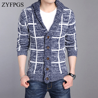 ZYFPGS Slim Fit Men Long Sleeved Splicing Casual Warm Autumn Stitching Cardigan Sweater Mens Knit Sweaters Brand Man Clothes 731