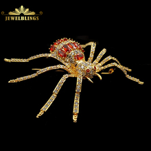 Vintage Designer Micro Pave CZ Red Spider Brooches Gold Tone 8 Legged Red Eyes Dangerous Spider Pins Halloween Holiday Jewelry fabulous short tassel drops double yellow bird brooches silver tone micro pave cz green eyes two love birds pins for girlfriend
