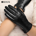 Genuine Leather Gloves Women Fashion Black Thicken Plus Velvet Lace Embroidery Real Sheepskin Winter Driving Glove NW079