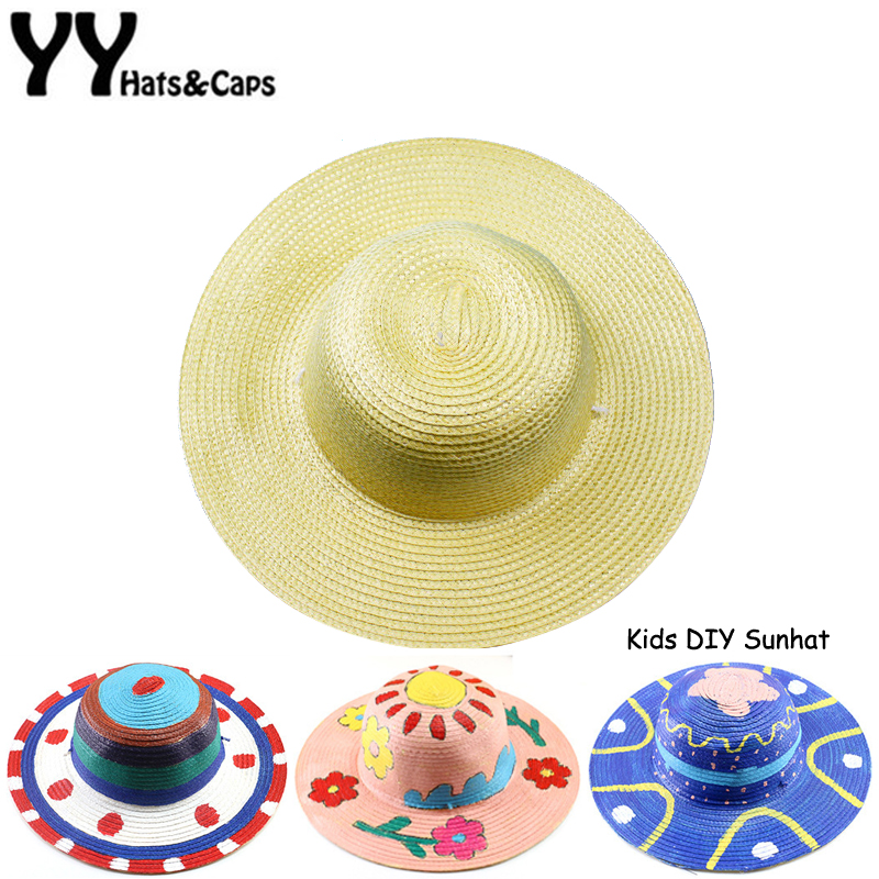 Creative DIY Straw Hats For Children Summer Beach Cap Boy Girl Painting Creation Hat Drawing Doodle Straw Hat Solid Color YY1838