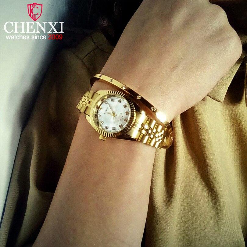 Chenxi lujo mujeres relojes señoras moda reloj de cuarzo para las mujeres de oro pulsera de acero inoxidable relojes casual reloj xfcs