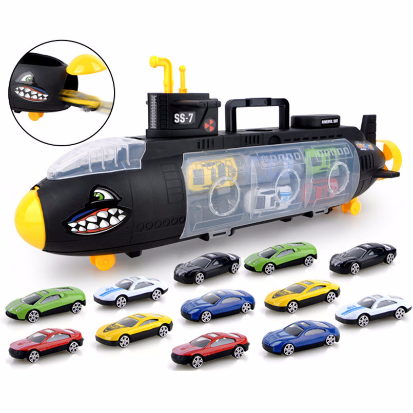 12Pcs/Set Mini Alloy Simulation Car Model Building Kits Toys Suit Shark Submarine Storage Box Cars Vehicles For Children Gifts