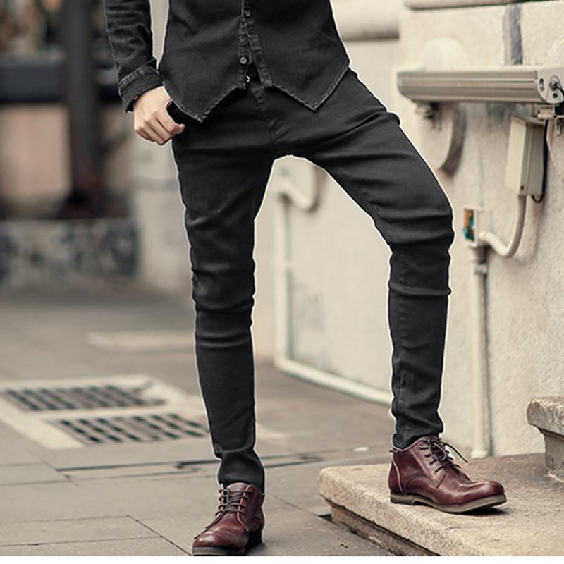 Men black stretch   jeans   trousers zipper slim Mens casual long pencil pants skinny cotton fashion brand design winter new K759