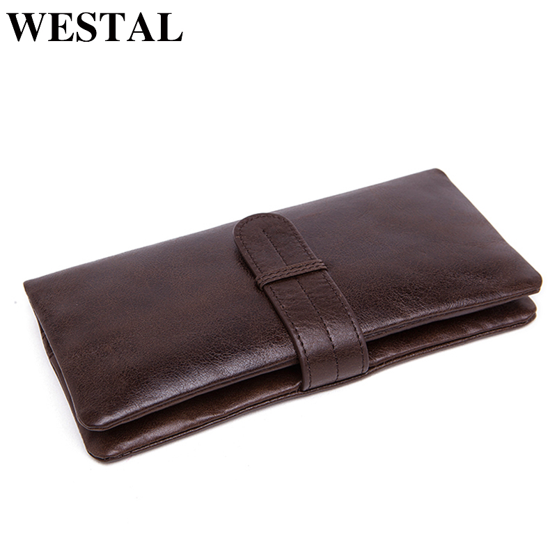 купить WESTAL Wallet male genuine leather Men clutch bag Coin Purse Men Wallet for Credit Cards Wallet Card Holder Wallets long 6018 недорого