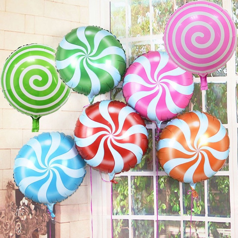 Colorful Candy Foil Balloons 18 Inch Round Lollipop Aluminum Balls Wedding Birthday Baby Party Decoration For Kid