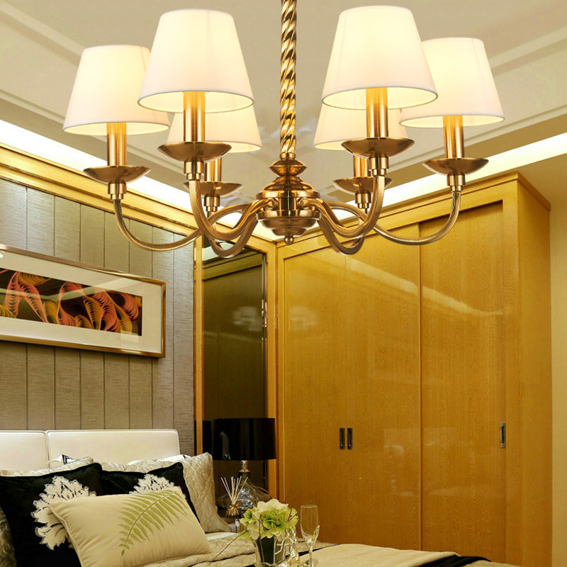 Lights & Lighting Modern Electroplated Copper Chandelier Bedroom Dining Room With Cloth Art Lampshade Deluxe Chandelier