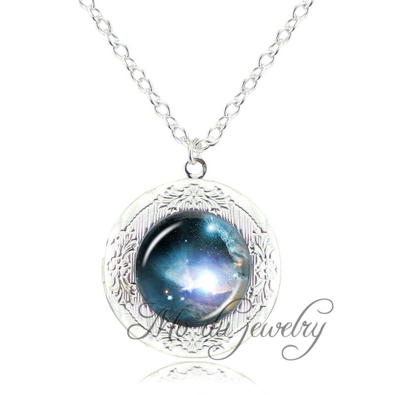 Sparkly glittery milky way locket pendant necklace art picture galaxy nebula ethereal choker astronomy necklaces jewelry gifts