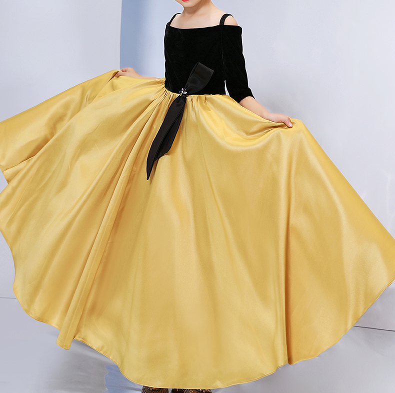 Mother Daughter Dresses Wedding Ball Gown Off Shoulder Golden Color Tutu Skirt Mommy and Me Clothes Family Look Matching Outfits - 5