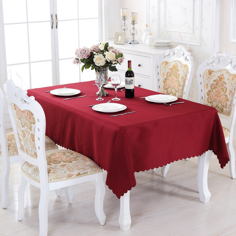 Order: 1 Piece. Eureapen Style Solid Round Polyester Rectangle Tablecloth  On Table Square Dining Tablecloths Picnic Tablecloth For Table