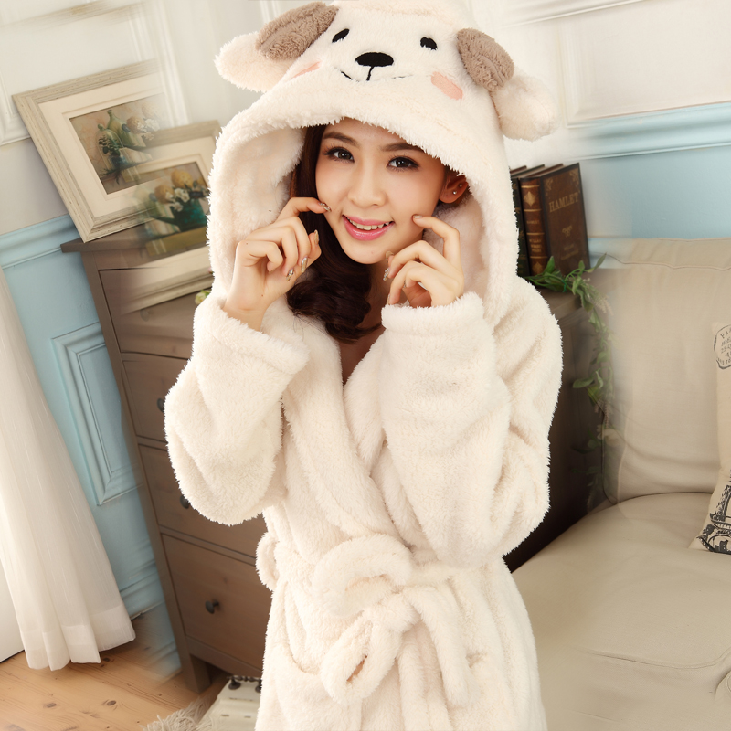 Bath robe hooded robes for women dressing gown warm - Robe de chambre femme polaire avec capuche ...
