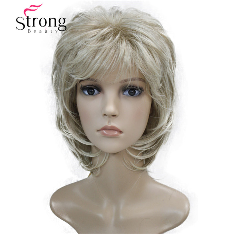 Short Soft Shaggy Layered Blonde Swept Bangs Full Synthetic Wig Natural Wave Women's Wigs COLOUR CHOICES