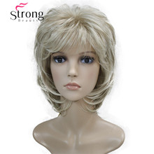 Short Soft Shaggy Layered Blonde Swept Bangs Full Synthetic Wig Natural Wave Womens Wigs COLOUR CHOICES