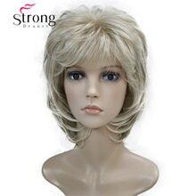 Curto macio shaggy em camadas loira varreu franja peruca sintética completa onda natural perucas femininas escolhas de cor