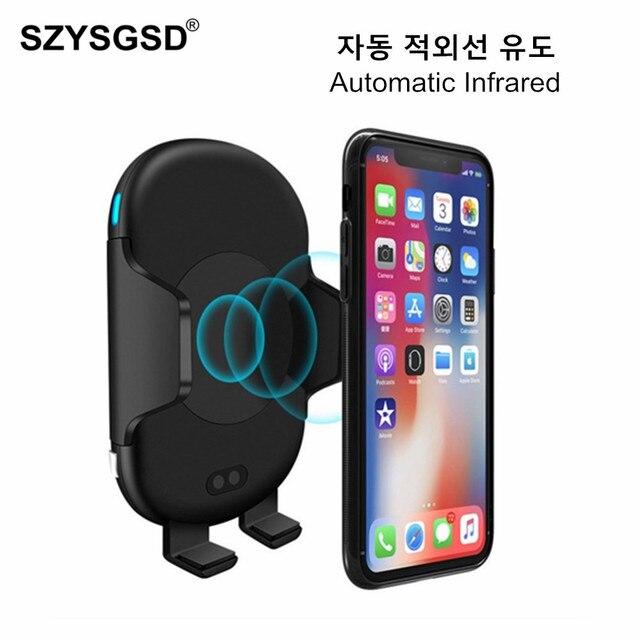 Cargador rápido QI para coche inalámbrico, soporte de teléfono de inducción de infrarrojos automático para iPhone XR XS Samsung S9 de 10W, carga rápida