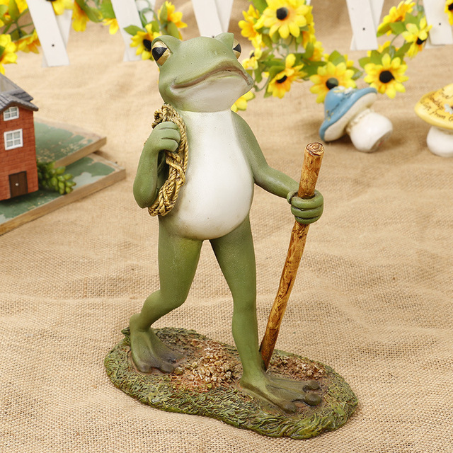 Exceptionnel Creative Walking Mr Frog Resin Figurine Decorative Fishing Frog Statue For  Home Office Desk Garden Decor Ornament Dropshipping